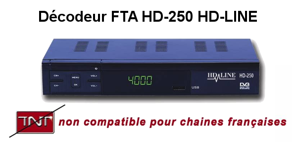 Décodeur FTA HD-250 non compatible tntsat et fransat