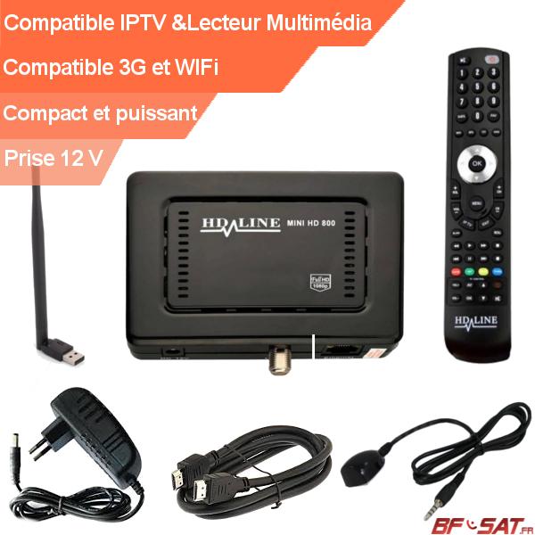kit complet mini décodeur FTA HD 800 avec antenne wifi et déport IR