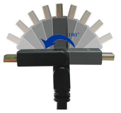 Fiche HDMI pliable à 180 degrès