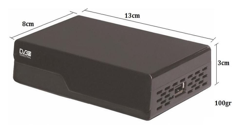 Dimensions du décodeur fourni dans le kit terrestre