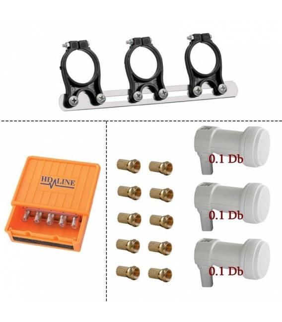 KIT Support 3 Lnb + 3 Lnb Single 0.1dB + HD-LINE Diseqc 4/1 + 10 connectors F gold