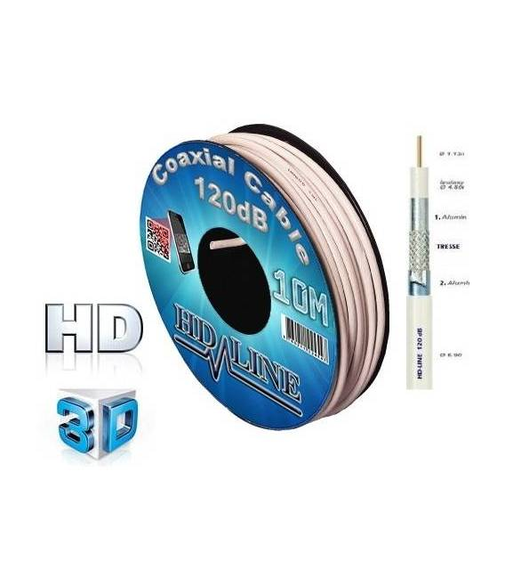 COAXIAL Cable 10M PRO 120dB TNT & ANTENNA SATELLITE DISH