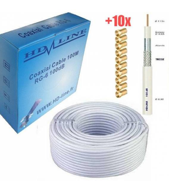 HD-LINE CABLE COAXIAL PRO 100dB + 10 Connecteur F Gold - TNT & ANTEN PARABOLE