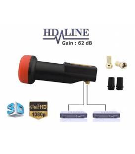 HD-LINE BLACK PREMIUM LNB TWIN 62db!! 0.1dB!! 1 TETE SATELLITE 2 OUTPUTS - VERSION LONG