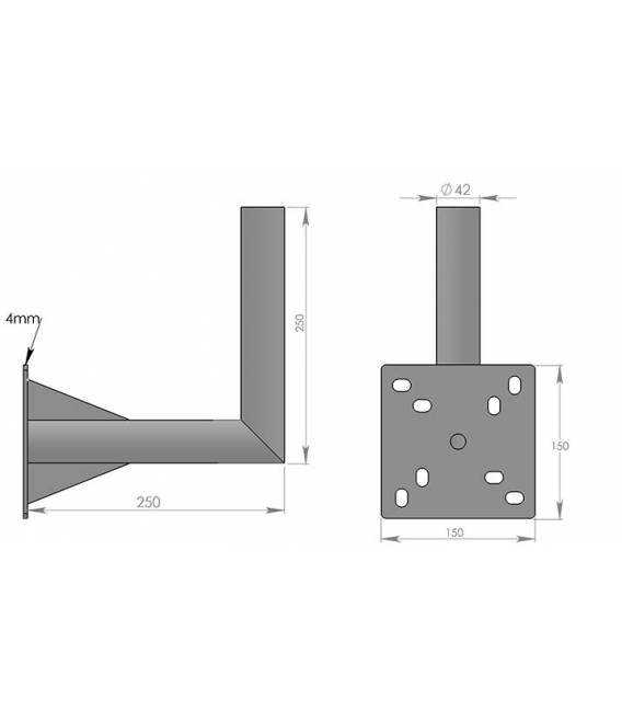 SATELLITE ANTENNA DISH BRACKET MOUNT KIT FOR BALCONY 25X25cm