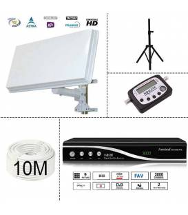 KIT SATELLITE FTA - RECEIVER 220V ! + SATELLITE DISH PLATE + TRIPOD + DIGITAL SATFINDER + 10M CABLE