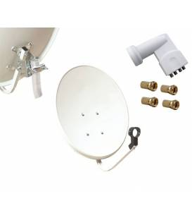 Kit HD-LINE Basic Satellite Dish 60cm Steel + LNB Quad + 4 connectors