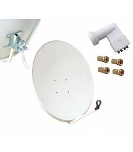 Kit HD-LINE Basic Satellite Dish 80cm Steel + LNB Quad + 4 connectors