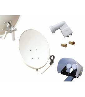 Kit HD-LINE Basic Satellite Dish 70cm Steel + LNB Twin + Weather Protection + 2 connectors