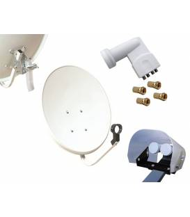 Kit HD-LINE Basic Satellite Dish 70cm Steel + LNB Quad + Weather-Protection + 4 connectors