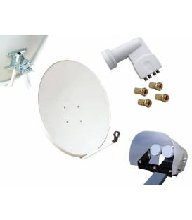 Kit HD-LINE Basic Satellite Dish 80cm Steel + LNB Quad + Weather Protection + 4 connectors
