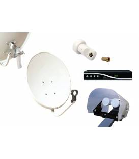 Kit HD-LINE Basic Parabole 60cm acier + Demo FTA HD + LNB Single + Protection anti-pluie + 1 connecteur