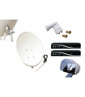 Kit HD-LINE Basic Satellite Dish 60cm Steel + 2 Receiver HD FTA + LNB Twin + Weather Protection + 2 connectors