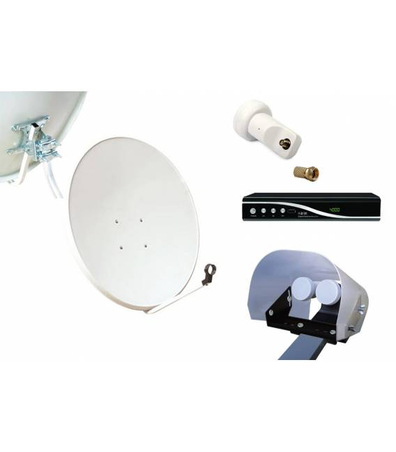 Kit HD-LINE Basic Satellite Dish 80cm Steel + Receiver FTA HD + LNB Single + Weather Protection + 1 connector
