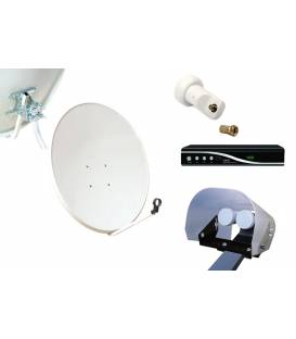 Kit HD-LINE Basic Satellite Dish 80cm Steel + Receiver FTA HD + LNB Single + Weather Protection + 1 connector