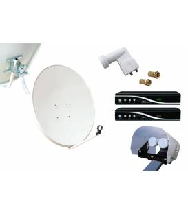 Kit HD-LINE Basic Satellite Dish 80cm Steel + 2 Receiver FTA HD + LNB Twin + Weather Protection + 2 connectors