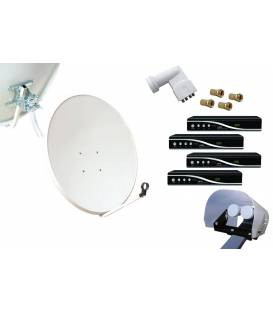 Kit HD-LINE Basic Satellite Dish 80cm Steel + 4 Receiver HD FTA + LNB Quad + Weather Protetion + 4 connectors