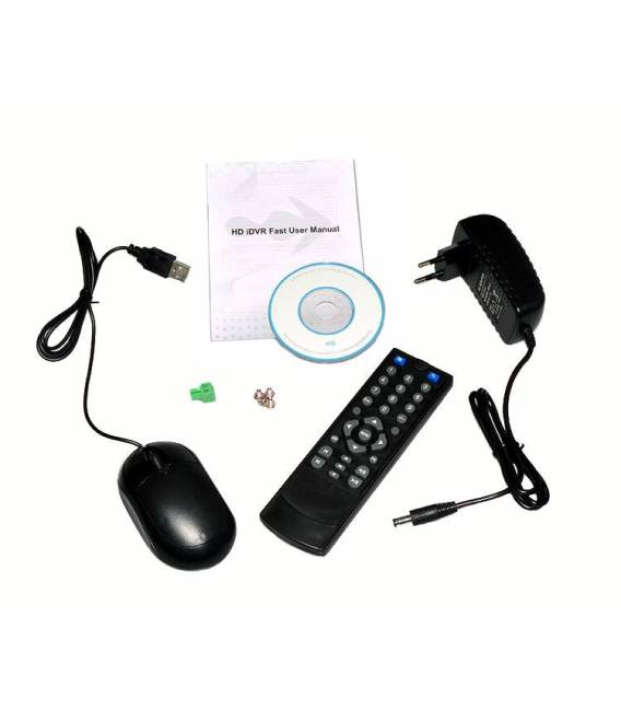 Kit Security Camera DVR 4HQ + 2 Cameras WP-500W + 2x 20m cable BNC white + 1 adaptator 4in1 + 1 Power Supply 5A
