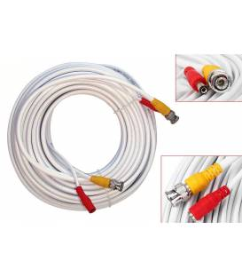 20M Cable white for Security Camera CCTV - With Connectors BNC and DC