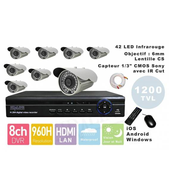 Kit Security Camera DVR 8HQ, 8 Cameras WP-900W, 8x 20m cable BNC white, 1 adaptator 8in1, 1 Power Supply 5A