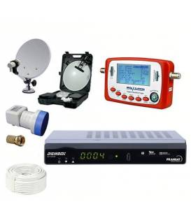 Kit camping: SATELLITE DISH 37CM + LNB SINGLE + SF-500 + CIGARTETTE LIGHTER + Deport IR Jack + Cable 10M + DIGIHOME DSF-300HD 1