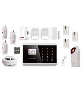 KIT ALARME ANGLAIS SANS FIL ADSL SIM APP + 3 detecteurs presence + 3 detecteurs porte + detecteur fumee + sirene
