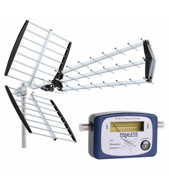 HD-LINE ANTENNE TNT 18 DB + kit POINTEUR TERRESTRE