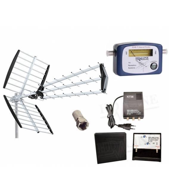 ANTENNE RATEAU TNT FULL HD TERRESTRE UHF + Pointeur dvb-t + kit Amplificateur