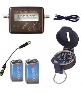 KIT SATFINDER POINTEUR SATELLITE + Boussole + Cable + piles