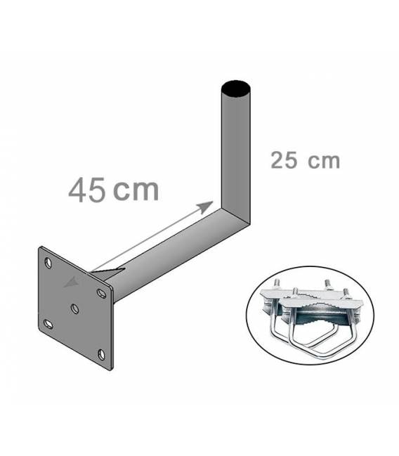 FIXATION ALU L BALCON 45X25cm ANTENNE ET PARABOLE