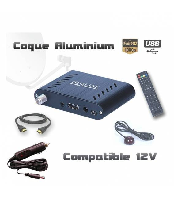 HD-LINE HD-120 + Allume-cigare Mini démodulateur satellite FTA coque alu 220V 12V Bip signal HDMI USB Déport IR