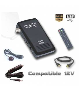 HD-LINE HD-100 + cigarette lighter - Mini Satellite Receiver FTA HD 220V 12V Ideal Camping Bip signal