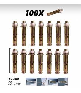 100X Vis concrete dowel 52mm, 10mm Diameter