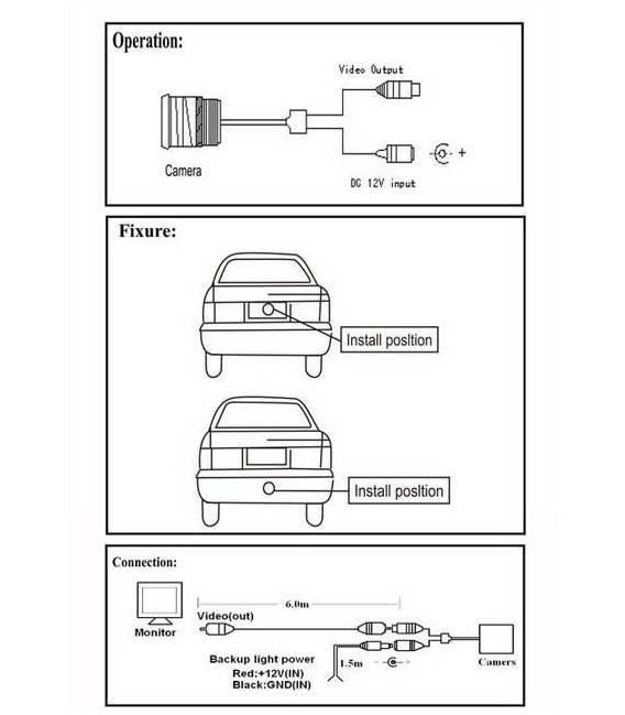 Mini Caméra voiture Recul + Rétroviseur Central - Fixation arrière auto - LED Nuit - Angle 120° - Waterproof