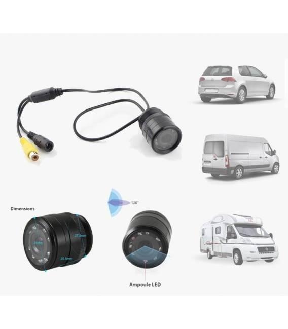 Mini Car camera Reaview Reverse backup Parking LED IR Night vision - Color - 120° - Waterproof