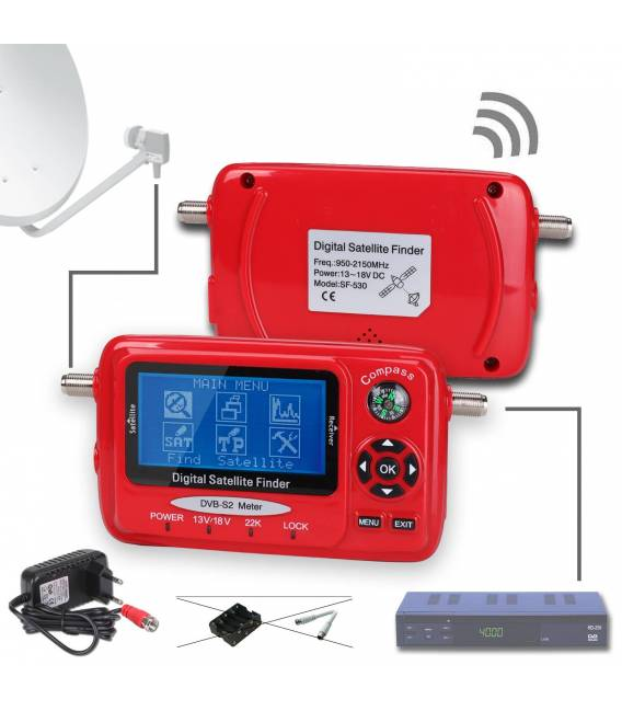 HD-LINE SF-530 Pointeur satellite DVB-S / DVB-S2 Mesureur signal + Analyseur de spectre