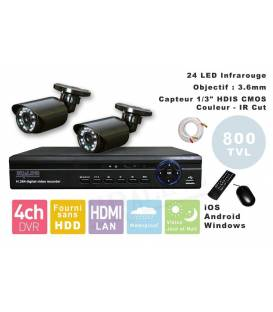 Kit Security Camera DVR 4HQ + 2 Cameras WP-500W + 2x 20m BNC cable white + 1 adaptator 4in1 + 1 Power Supply 5A