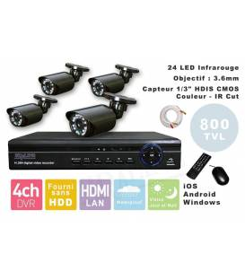 Kit Security Camera DVR 4HQ + 4 Cameras WP-500W + 4x 20m cable BNC white + 1 adaptator 4in1 + 1 Power Supply 5A