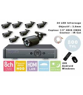 Kit Security Camera DVR 8 Outputs + 8 Cameras WP-500W + 8x 20m BNC cable white + 1 adaptator 8in1 + 1 Power Supply 5A