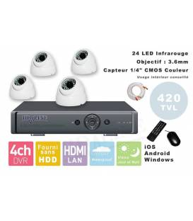 Kit Security Camera DVR 4 Outputs + 4 Dome Cameras PL-50B + 4x 20m cable BNC white + 1 adaptator 4in1 + 1 Power Supply 5A