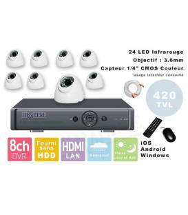 Kit videosurveillance DVR 8 sorties + 8 Cameras domes PL-50B + 8x 20m cable BNC blanc + 1 adaptateur 8en1 + 1 alimentation 5A