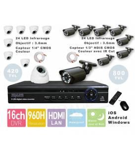 Kit videosurveillance DVR 16 + 8 Camera PL-50W + 8 Camera WP-500W + 16x 20m cable BNC blanc + 2 adaptateur 8en1 + 2 alim 5A