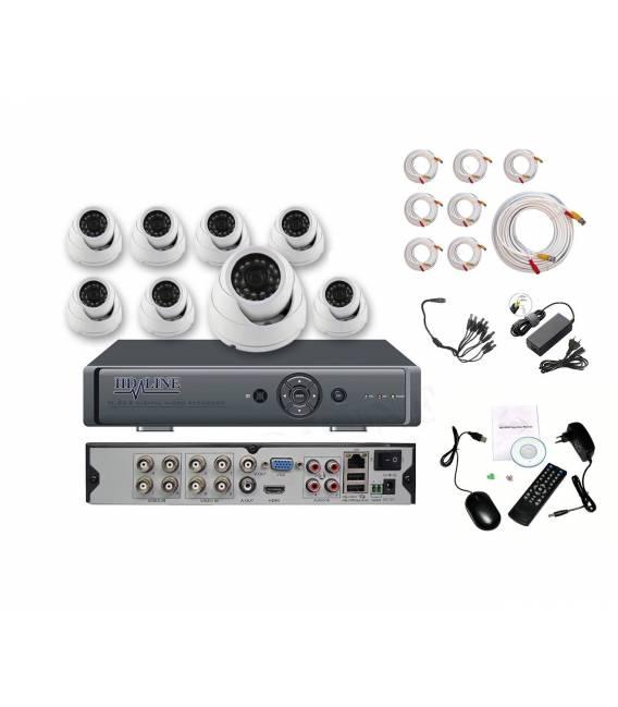 Kit videosurveillance DVR 8 + 8 Cameras MD-200W + 8x 20m cable BNC + 1 adaptateur 8en1 + 1 alimentation 5A bfsat.fr