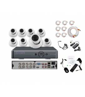 Security Camera Kit DVR 8 + 8 Cameras MD-200W + 8x 20m cable BNC + 1 adaptator 8in1 + 1 Power Supply 5A