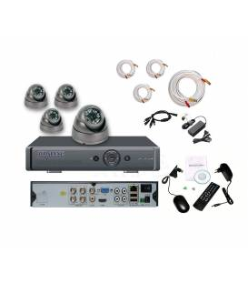Security Camera Kit DVR 4 Outputs + 4 Dome Cameras MD-200G + 4x 20m BNC cable white + 1 adaptator 4in1 + 1 Power Supply 5A