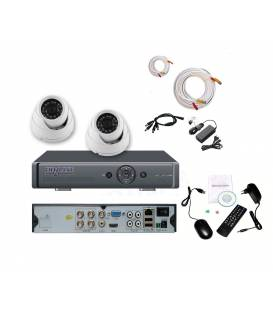 Security Camera Kit DVR 4 Outputs + 2 Dome Cameras MD-200W + 2x 20m cable BNC white + 1 adaptator 4in1 + 1 Power Supply 5A