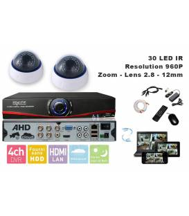 Kit Security Camera AHD DVR 4 Outputs + 2 Cameras domes DZ-450 + 2x 20m cable BNC + 1 adaptator 4in1 + 1 Power Supply 5A