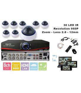 Kit Security Camera AHD DVR 8 Outputs + 8 Cameras DZ-450 AHD + 8x 20m cable BNC + 1 adaptator 8in1 + 1 Power Supply 5A