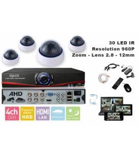 Kit videosurveillance AHD DVR 4 sorties + 4 Cameras domes DS-450 + 4x 20m cable BNC + 1 adaptateur 4en1 + 1 alimentation 5A