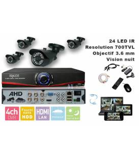Kit Security Camera DVR 4 Outputs, 4 Cameras WP-500B, 4x 20m cable BNC white, 1 adaptator 4in1 + 1 Power Supply 5A
